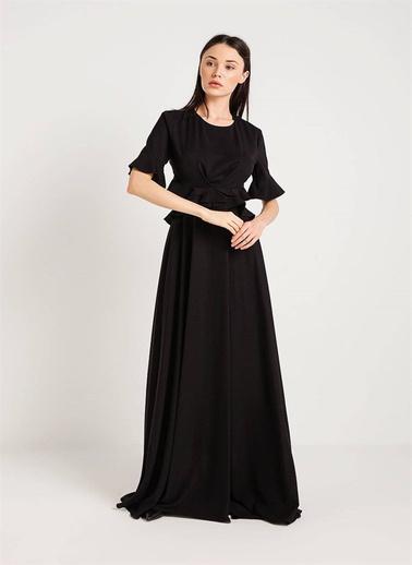 Rue Volanlı Uzun Elbise Siyah